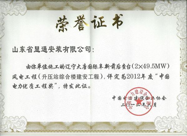 2012中国电力协会优质奖